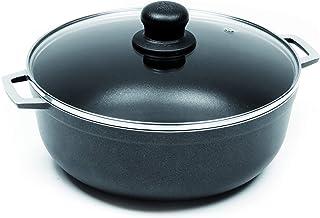 IMUSA USA Black GAU-80665 4.8Qt Nonstick Caldero with Glass Lid and Steam Vent (Dutch Oven), 4.8-Quarts