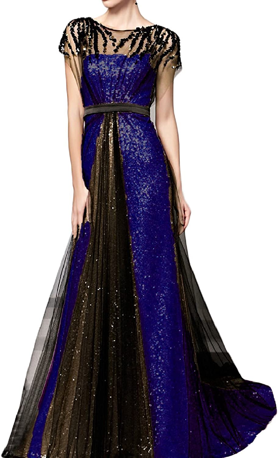 H.S.D Women's A Line Beaded Sequins Long Party Dresses Formal Evening Gowns