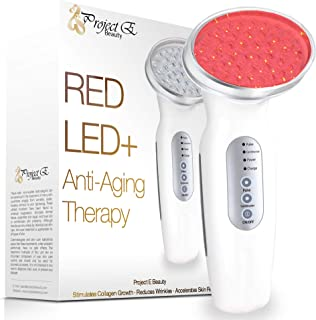 Project E Beauty RED LED+ Anti-Aging Therapy| 630nm Red Light LED Light Therapy Collagen Boost Skin Care Firming Lifting Skin Tightening Smooth Wrinkles Fine Line Removal Light Control Sensor Facial Beauty Device