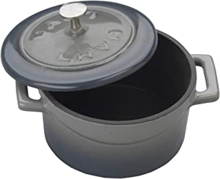 Enameled Cast Iron Mini Round Cookware Casserole Dish with Lid & Handles - 11.75 oz - Gray - Pre-Seasoned – Oven Safe Up t...