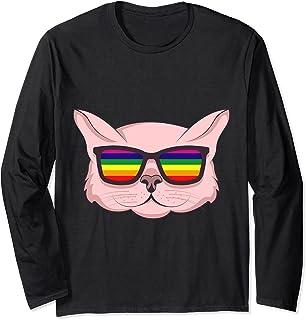 Gato LGBT con gafas de sol Regalo del mes del - Gato LGBT con gafas de sol Mes del orgullo LGBT Bandera del Manga Larga
