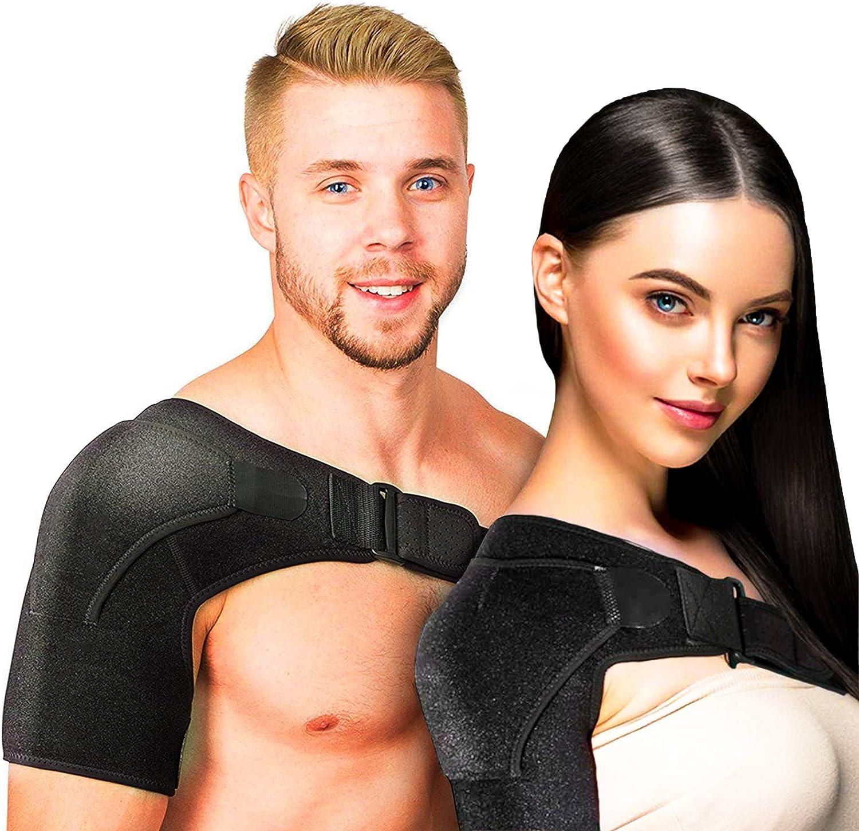The Shoulder Buddy Shoulder Stability Brace Compression Sleeve  with Pressure Pad & Hot Cold Reusable Pack  Black  Adjustable Wrap Strap  Men & Women  FDA Approved