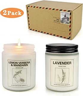 Double Gift Home Scented Candles, Aromatherapy Candles Made with Soy Wax and Pure Essential Oil - 15Oz 50 Hours Burn Long Lasting Scented - Lavender, Lemon & Verbena