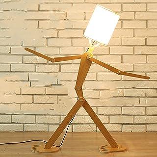 HGFMY Lampadaire Sur Pied Salon, Lampe Salon a Poser en Bois, Lampadaire Chambre Enfant avec Blanche Abat Jour, Lampe Salo...