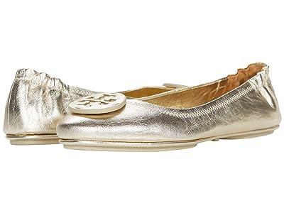 Tory Burch Minnie Travel Ballet w/ Leather Logo (Spark Gold/Spark Gold) Women
