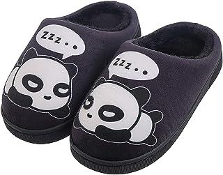 Gaatpot Femme Hommes Chaudes Pantoufles Automne Hiver Enfant Fille Mignon Panda Chaussons Garcon Slip-on Slippers Chaussures