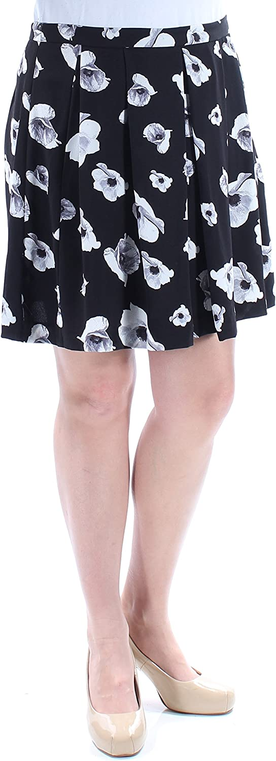CeCe $79 Womens New 1419 Black White Floral Above The Knee Pleated Skirt 12 B+B