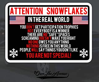 OwnTheAvenue Attention Snowflake Sticker Decal Political Trump for Window Car Truck Bumper 5