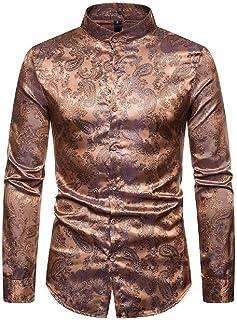Loyomobak Mens Long Sleeve Satin Button Up Paisley Printed Shirts