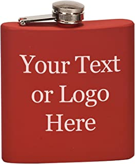Customized 3D Laser Engraved Personalized 6 oz. Stainless Steel Custom Flask (Matte Red)