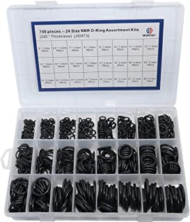 Boeray 24 Size 740 pcs Nitrile Rubber NBR O-Ring Gasket Ring Assortment Kits Thickness 1.5mm 2.4mm 3.1mm
