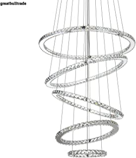 Modern Minimalist led Crystal Chandelier Round Living Room Bedroom Chandelier Duplex Building Lobby Chandelier 5 Rings (St...