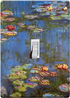 3-D Effect Printed Maxi Metal Monet Water Lilies - Light Switch/Outlet Cover F0021 (1-gang toggle)