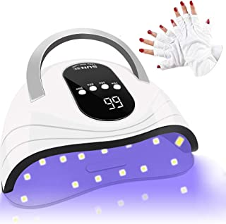 Baeskii UV LED Nail Lamp, 120W Nail Dryer 42 LED Lamps for Gel Polish with Anti UV Fingerless Gloves, 4 Timer Setting, Aut...