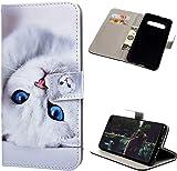 F�r Samsung Galaxy S10 Plus H�lle Leder Tasche PU Leder H�lle Gemalt Muster Flip Brieftasche Kartenhalter Magnetschnalle St�nder Sto�fest Kratzfest Sto�stange Handyh�lle White Cat