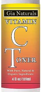 Gia Naturals Vitamin C Facial Toner. Pure, Natural and Organic. Freshner. Antioxidants, Age-Fighting, Brightens, Reduces Pores, PH Balances, Made in USA
