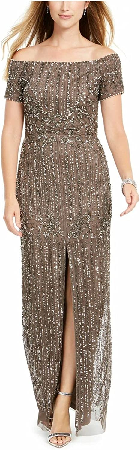 Adrianna Papell Women's Off-The-Shoulder Long Beaded Gown Lead 2