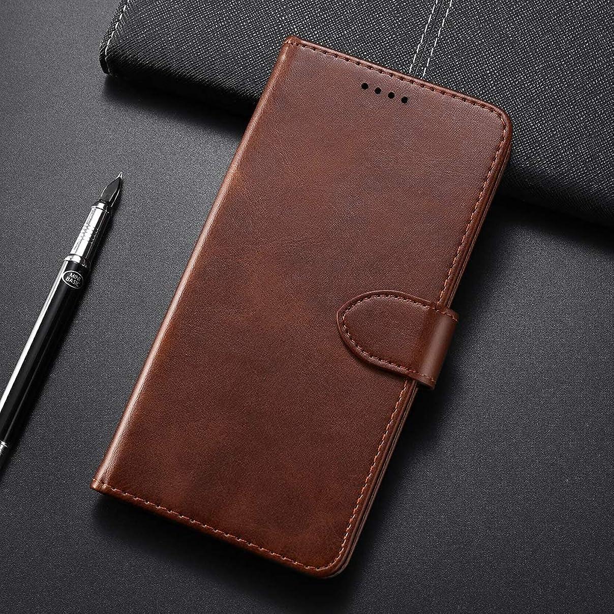 静かなノーブル放出ホルダー&カードスロット&財布と小米科技ミ8 Proのカーフテクスチャ水平フリップレザーケースのための携帯電話ケース、 brand:TONWIN (Color : Brown)