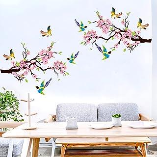 Vogels op boom muurstickers, aquarel tuin bloemen muurstickers, kinderkamer meisjes woonkamer slaapkamer romantische muur ...