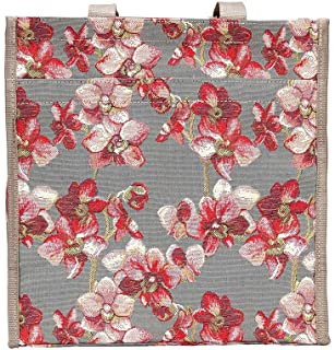 Orchid Grey and Red Shopper Bag by Signare/Floral Ladies Shoulder Reusable Folding Wild Orchid/SHOP-ORC
