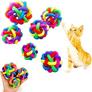 NANAOUS 6 pc Pet Puppy Dog Cat Colorful Dog Rubber Ball with Bell , 5.5 cm / 6.5 cm /6.8 cm / 7cm / 8.5 cm / 9.5 Rubber Woven Ball Knot Ball ,Interactive Dog/Cat Toy Ball