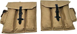 Ultimate Arms Gear German WWII Mkb42 MP44 STG44 Magazine Canvas & Leather Pouch Set, Tan