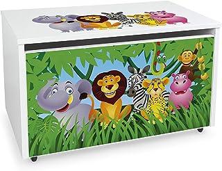 Leomark Coffre de Rangement pour Enfants - JUNGLE- Organisateur à jouets en bois, Conteneur à jouets, banc réglable, sur r...