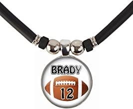 SpotlightJewels Customizable Boys Football Name and Number Pendant Necklace-Mens and Boys Football Player Pendant Charm Jewelry-Personalizet for Football Teams, Football Moms and Football Dads