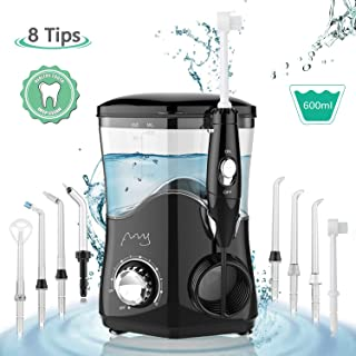 Dental Water Flosser, Water Pick Teeth Cleaner Professional 600ml Electric Oral Irrigator Countertop with 8 Multifunctional Tips & 10 Adjustable Pressures for Tooth Braces Care Home