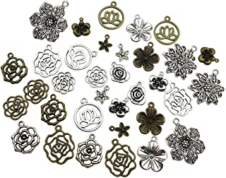 100g Craft Supplies Mixed Flower Beads Charms Pendants for Crafting, Jewelry Findings Making Accessory for DIY Necklace Bracelet (Flower Charms M93)