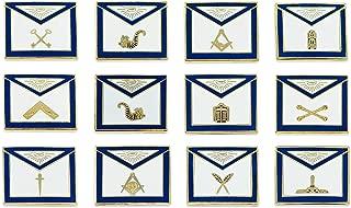 Officer Apron Blue & White Masonic Lapel Pin (Set of 12 Pins) - 3/4
