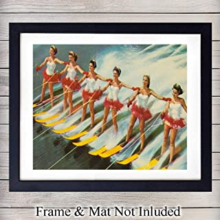 Vintage Water Ski Wall Art Print - 8X10 Unframed - Great Gift for Lake House