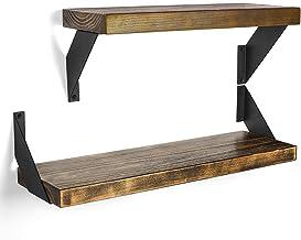 Wandplank, Keukenopslagplank, Zwevende plankbeugel, Industriële plank Set van 4, S-15cm, Zwart