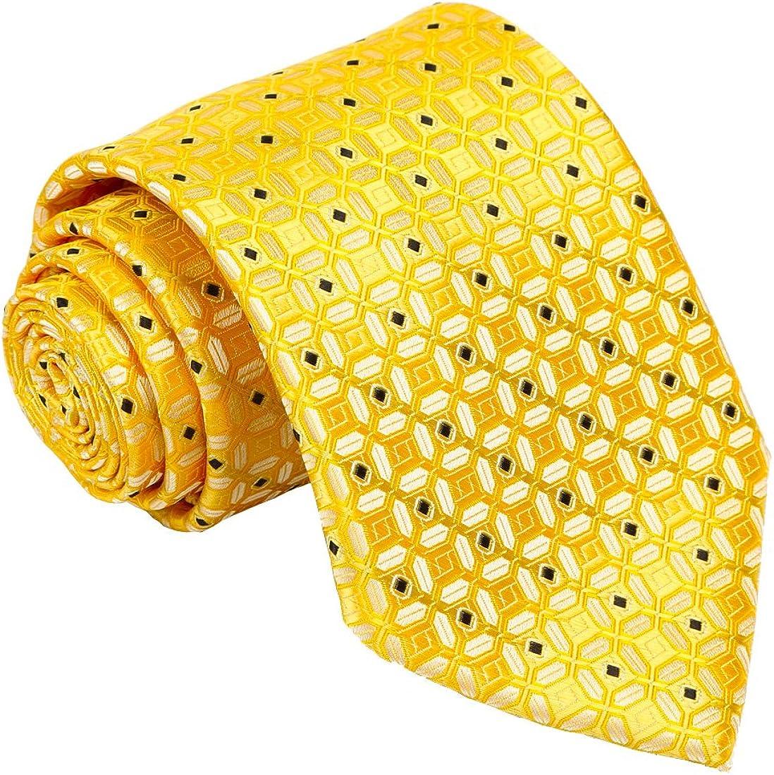 Fortunatever Men's Handmade Tie,Checkered Pattern Necktie With Gift Box