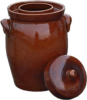 Hentschke Keramik Gärtopf, Rumtopf, Sauerkrauttopf Einlegetopf braun - 5 Liter incl. Deckel  Beschwerungsstein