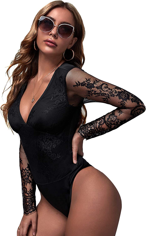Verdusa Women's Plunging Neck Lace Overlay Long Sleeve Bodycon Tee Bodysuit