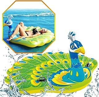 SLCE Colchonetas Piscina Hinchable Pavo Real, Flotador Inflable Hamaca De Agua Flotante para Piscina, PVC Gigante Piscina Inflable Balsa Flotante Piscina, 193X163cm