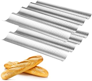 """Baguette pans for baking 2 Pack, WERTIOO Nonstick French Bread Pan 15"""" x 13"""" for French Bread Baking, 4 Wave Loaves Loaf B..."""