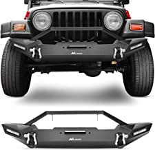 Nilight JK-55A Front Compatible for 87-06 Jeep Wrangler TJ & YJ Rock Crawler Bumper LED Lights, Winch Plate and 2 x D-Rings,Upgraded Textured Black,2 Years Warranty