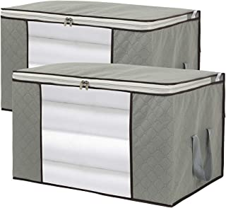 2pack Foldable Large Storage Bags with Clear Window & Handles - 1L for Comforter (24 x 16 x 14inch) + 1M for Blanket Quilt Clothes Pillow (19 x 18 x 11inch)