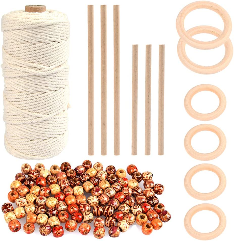 WOWOSS 109 Yards Cheap sale Natural Macrame Cord with 6 6pcs Ring 3mm Wood Many popular brands