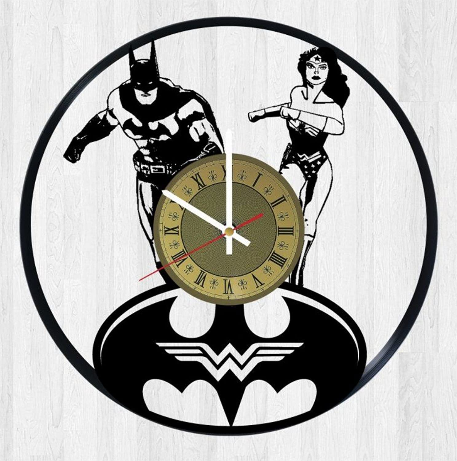 Batman and Wonder Woman Vinyl Wall Clock Great Gift for Men, Women, Kids, Girls and Boys, Birthday, Christmas Beautiful Home Decor - Unique Design That Made Out of Vinyl LP Record