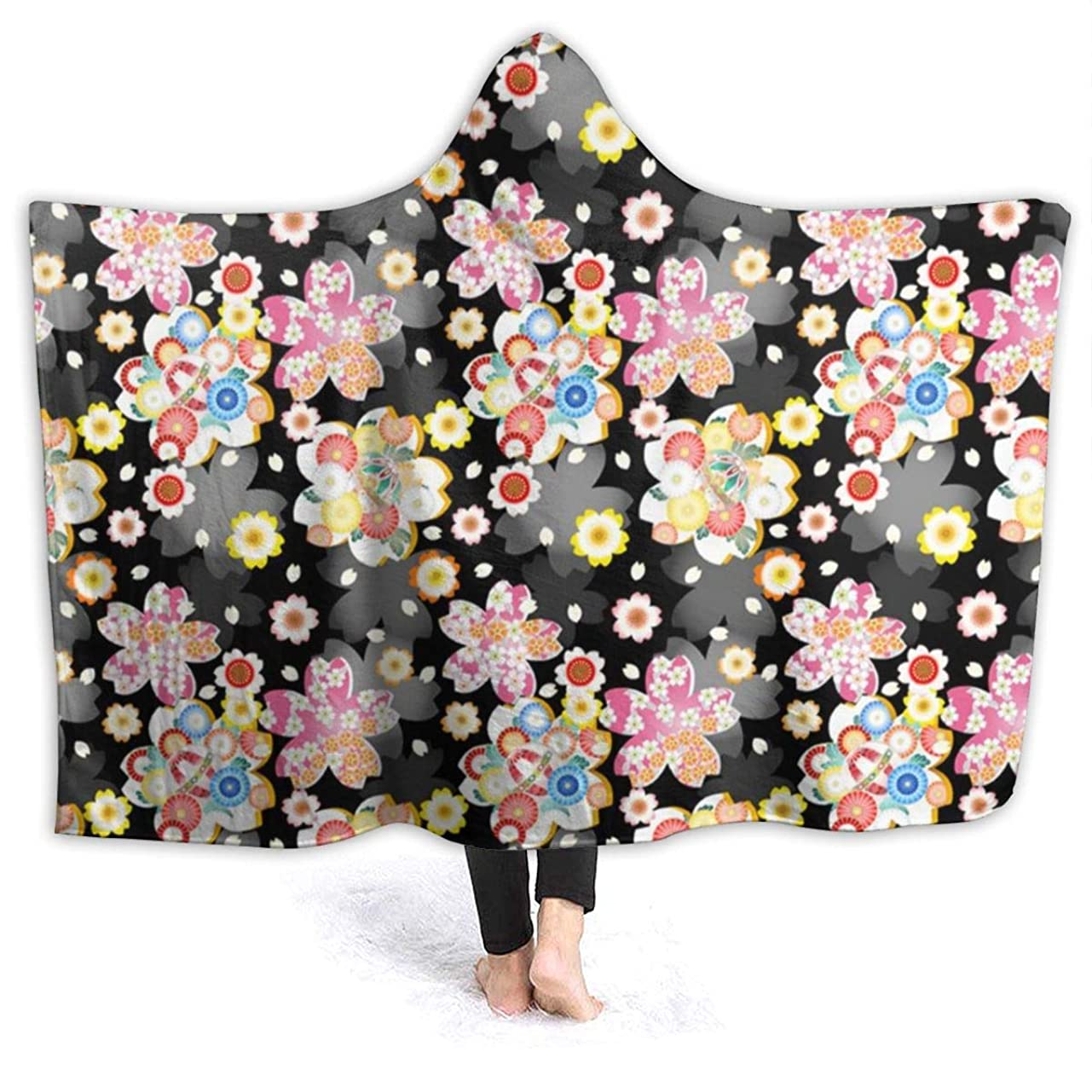 簡単に描く繰り返した毛布 ブランケット 和柄 花柄 帽子付き シングル ふんわり 洗える フランネル シーツ ひざ掛け