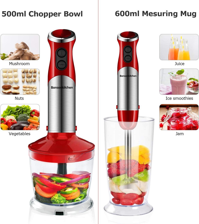Vaso Medidor de 600 ml sin BPA 12 Velocidades Batidora Multifuncional de Acero Inoxidable de 800 W con Picadora de 500 ml Bonsenkitchen Batidora de Mano 5 en 1 batidor Batidoras rojo