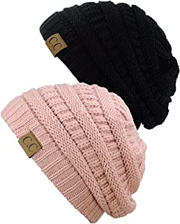 C.C Women's Knit Beanie Cap Hat (2 Pack)