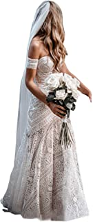 Women's Bohemian Wedding Dresses with Detachable Arm Bands Sweetheart Mermaid Lace Bridal Gown