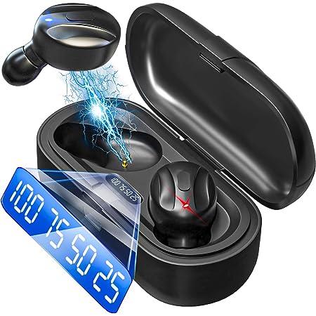 完全ワイヤレスイヤホン ブルートゥースイヤホン ヘッドセット 瞬時ペアリング Hi-Fiステレオ高音質 超長時間駆動 ノイズキャンセリング機能 両耳/片耳対応 防水 iPhone/iPad/Android適用