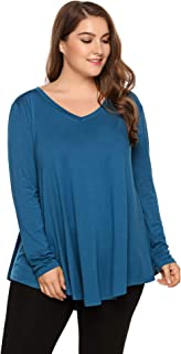 IN'VOLAND Plus Size Women Long Sleeve Flattering Comfy Tunic Loose Fit Flowy Tops