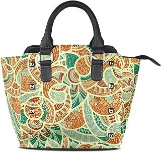 Ladies India Aztec Tribal PU Leather Shoulder Bags Top-Handle Handbag Tote Crossbody Bag Large