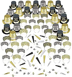 Party City Opulent Affair New Year's Party Kit for 200 Guests, Includes Hats and Noisemakers